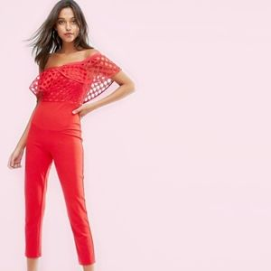 Missguided Frill Lace Bodice Red Jumpsuit